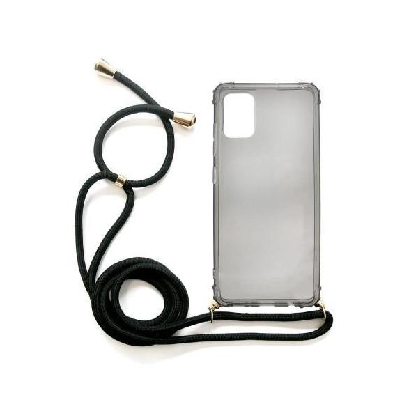 Θήκη TPU Crossbody inos Samsung A515F Galaxy A51 Shock Proof Smoke με Μαύρο Strap