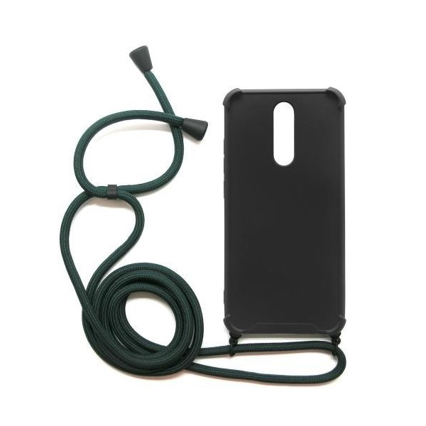 Θήκη TPU Crossbody inos Xiaomi Redmi 8/ Redmi 8A Shock Proof Μαύρο με Χακί Strap